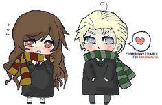 ♥ L o v e y, Chibi Draco & Hermione. My Drarry heart is...