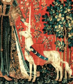 Anonymous Flemish artist - Touch, detail. The Lady and the Unicorn series of tapestries (Musée national du Moyen Âge). Around 1484 – 1500