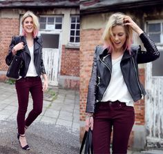 Leather jacket with sequin sleeves and Dip Dyed hair!  (by Sofie V.) http://lookbook.nu/look/3414683-Leather-jacket-with-sequin-sleeves-and-Dip-Dyed-hair