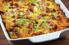 The Best Breakfast Casserole | Croutons and bacon make all the difference in this easy breakfast casserole recipe.