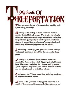 Book of Shadows:  #BOS Methods of Teleportation page.