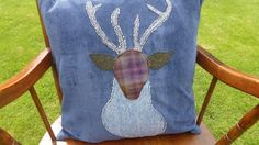 Stunning Handmade Applique Feather Cushion with Stag Design £55.00