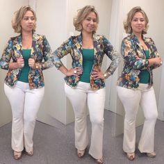 floral blazer; white pants; green blouse