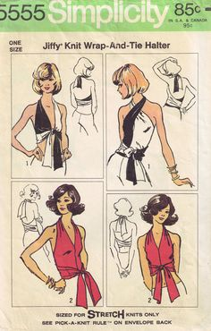 Vintage Simplicity 5555 Jiffy Wrap and Tie Halter Top Mod  Sewing Pattern  Plus All Sizes S, M, L, XL. $18.00, via Etsy.