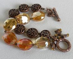Oval faceted Crystals Handmade Beaded Bracelet Copper