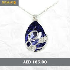 8e79aa10ec 18K White Gold Plated Necklace Encrusted With Purple Swarovski Elements, SWR -180