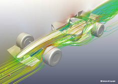 Aerodynamic analysis of flow around a Formula-1 race car at 215 km/h.