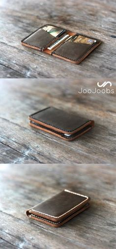 Feel the full grain leather of this handmade wallet in the palm of your hand. This minimalist wallet fits a huge amount of cards and cash, while remaining compact with the ability to fit in your front pocket or jacket pocket. Personalize it for the perf Handmade Leather Wallet, Leather Card Wallet, Leather Gifts, Leather Craft, Leather Men, Gifts For Women, Gifts For Her, Handmade Wallets, Wallets For Women Leather