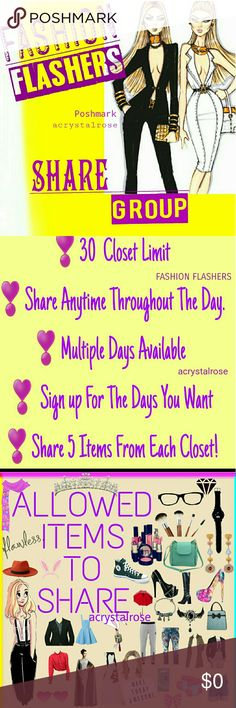 WEDNESDAY April 26th * @closetname  * Sharers Choice.  * You can announce that you would like your Sale Listing shared (Please share my 50% off listing)  * Please do not specify a specific category. (Sharers Choice) * If you wish to have a sale listing shared make sure it's at the top of your closet, 1st listing.  * NEW members must share everyone, before everyone shares new members. * 5 Items per closet * if you take a break please make a notation as where you left off (***closetname)…