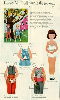 Vintage June 1954 Magazine Paper Doll Betsy McCall Goes to the Country* For lots of free paper dolls International Paper Doll Society #ArielleGabriel #ArtrA thanks to Pinterest paper doll collectors for sharing *