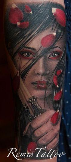 Referências: Composição. Cabelos. Cores. Rosto. Remis Cizauskas- (its the first version I've seen of my own tattoo!)