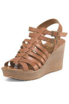 "Strappy leather wedge.    Heel Height: 3"".   Leather Wedge by Mariella Rosati. Shoes - Wedges California"