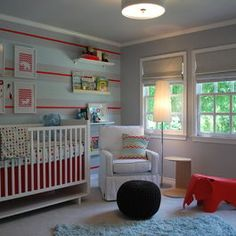 Modern boys nursery, although not for a nursery for us. Idea for red/robin's egg or blue hydrangea stripe combo. Would we want a third color? Maybe a light yellow...