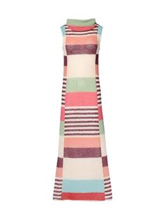 Long dress with cowl neck, sleeveless, multicolored stripes muddled Delaunay style - Summer 1999 #zigzagging in time #vintage #reedition