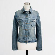 Factory denim jacket in sanded blue wash