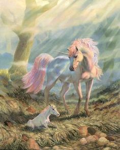 Unicorn Mare and Foal.  I had this picture when I was younger, love it!