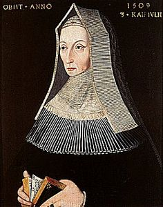 """Margaret Beaufort - Mother of King Henry VII, grandmother of King Henry VIII, great grandmother of Queen Elizabeth 1.  Plotted rebellion against King Edward IV & his wife the""""White Queen,"""" but Edward prevailed. Years later, after Edward died, his brother became King Richard III. Then Margaret's faction rose again & deposed Richard; thus her son was crowned King Henry VII. He married the White Queen's daughter Elizabeth for political alliance. Their union produced Henry VIII. ... SoniaSophia"""