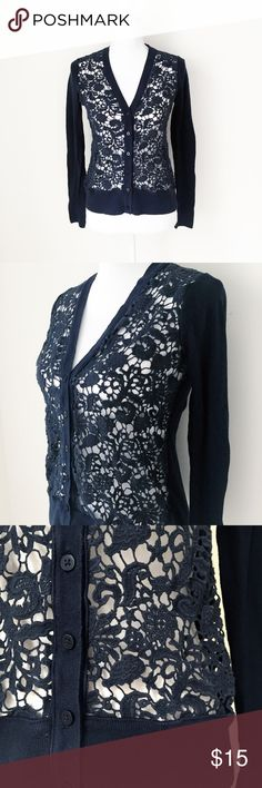 """LOFT ANN TAYLOR navy crochet cardigan women s LOFT by Ann Taylor  feminine, everyday cardigan  in navy. mini buttons.  garment laid flat, seam - seam,  bust: 17"""" shoulders: 13"""" length: 22"""" sleeves from shoulders: 24  excellent, light pilling on soft cotton  work sweater top shirt doily knit knitted career crochet knit lace LOFT Sweaters Cardigans"""