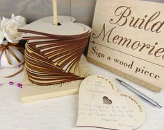 Build Memories Wedding Guest Book Custom by HomeWoodAndTextile