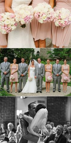 Neutral bridesmaids & groomsmen in grey  These are the colors for wedding party!