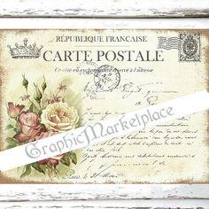Carte Postale Roses French Postcard Large Image Instant Download Vintage Transfer Pillows Towels digital collage sheet printable No. 1867