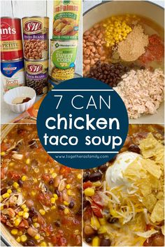 7 can chicken taco soup 7 can soup recipe soup recipe dinner does not get any easier than this 7 can chicken taco soup! Dump 7 cans into a pot plus so Easy Taco Soup, Easy Soup Recipes, Dinner Recipes, Easy Chicken Tortilla Soup, Keto Recipes, 7 Can Taco Soup Recipe, Cheese Taco Soup Recipe, Chef Recipes, Mexican Soup Recipes