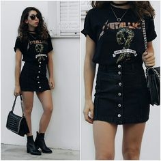 Theoni Argyropoulou - Zaful Denim Skirt, Bershka Metallica T Shirt, Zara Shoulder Bag, Ankle Boots, Ring Necklace, Choker - Denim skirt x Band Tee
