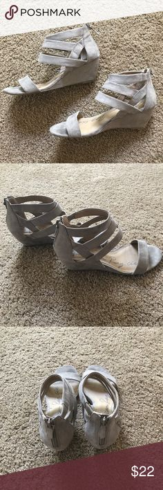Grey Suede Sandals adorable grey sandals that have been gently worn; super cute for the fall Shoes Sandals