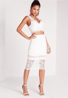 30bd1d4fad95 Lace Hem Midi Skirt White Mid Length Skirts