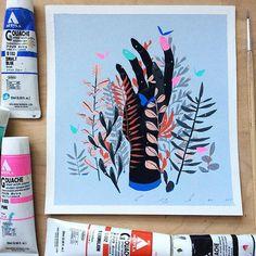"Work by Bao Pham - ""Handgrown"". 6""x6.5"" Acryla Gouache on RivesBFK. - Email me at baophamart@gmail.com for purchase information! - #handmade #homegrown #hamdgrown #plants #leaves#acrylagouache #gouache #gouachepainting #traditionalart #ooak #artistsoninstagram #baophamart #baotpham #baopham #artworks #paintanyway #hand #rivesbfk #smallworks #worksonpaper"