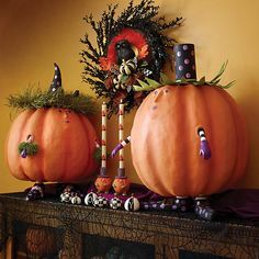 MacKenzie-Childs | Patience Brewster Gourdita Pumpkin Display Figure Pumpkin Display, Owl Wreaths, Fall Is Coming, Pink Hat, Angel Ornaments, Halloween Celebration, Flower Market, Candle Set, Hand Painted Ceramics
