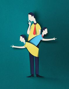 Paper crafted editorial illutration by Eiko Ojala for Fakta - Myyntikone Piiputtaa.