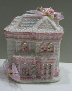 Victorian Chic Shabby Christmas Pink Village House | eBay