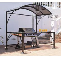 Give your BBQ the home it deserves with our fantastic Burma BBQ Gazebo. This stunning product fits easily over and around your barbecue, keeping it protected from the inevitable summer shower or falling tree leaves. Two waterwave glass side extensions provide the perfect place to put drinks or plates whilst a 6mm polycarbonate rounded canopy will keep the sun at bay and the rain away from you and your food. Two metal trays hook on underneath to allow for convenient condiment/tool storage.