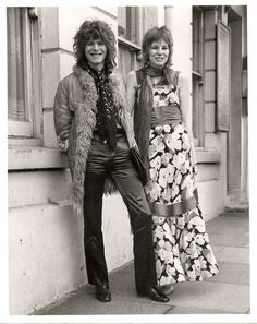 1970s fashion - David and Angie Bowie on their wedding day