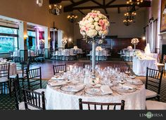 I like the pink centerpieces.   Bel Air Bay Club Wedding | Peter and Christine