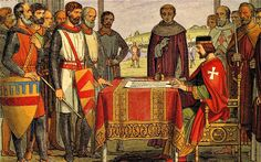 Magna Carta, the Great Charter of English Liberties  King John Lackland, and barons.  My direct ancestors (Great Grandfathers), who were Sureties there, were Saire de Quincy, John de Lacie, Richard and Gilbert de Clare, Henry de Bohun, Robert de Vere, and Roger and Hugh Bigod, and of course, King John himself. Ancestors