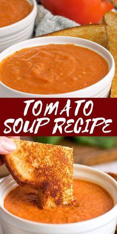 Creamy Tomato Soup Recipe Easy, Crockpot Tomato Soup, Quick Tomato Soup, Tomato Paste Recipe, Tomato Soup Recipes, Easy Soup Recipes, Dinner Recipes, Cooking Recipes, Sweet Potato Soup