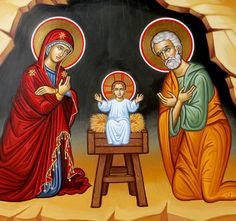 Just a bit further on the Nativity icon. The central portion is almost done.