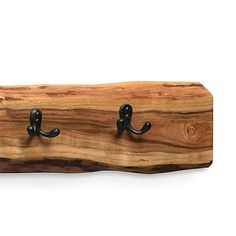 Alaterre Furniture Alpine Natural Brown Live Edge 48 Coat Hooks Metal And Wood Wall Hook Rack, Wall Mounted Coat Rack, Coat Hooks, Wall Hooks, Live Edge Wood, Live Edge Table, Natural Brown, Natural Wood, Wood Mirror