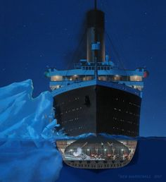 Ken Marschall Art prints and posters available at www.transatlanticdesigns.com In the late evening hours of April 14, 1912, the Titanic strikes ice. Boiler Room No. 6 quickly begins to flood with water.