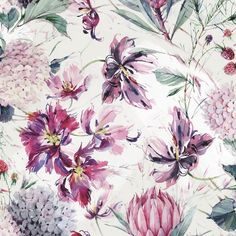 The selection of watercolor flowers below is by Moscow, Russian Federation based artist Natalia Tyulkina. She specialises in surface design and watercolor Art Floral, Floral Motif, Watercolor Flowers, Watercolor Art, Floral Prints, Watercolor Pattern, Folk Art Flowers, Flower Art, Flower Patterns