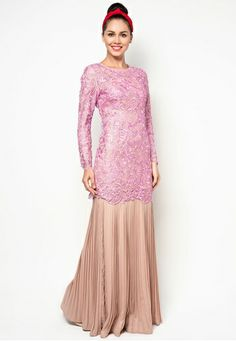 Embroidered Lace Kurung With Pleated Skirt Baju Kurung Lace, Bridesmaid Outfit, Brokat, Lace Design, Embroidered Lace, Traditional Outfits, Indian Outfits, Pleated Skirt, Gowns