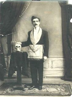 Freemason with skull antique photo