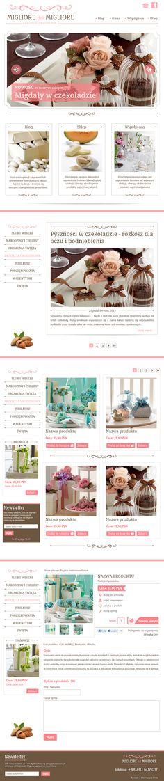 Projekt sklepu i bloga dla Migliore del Migliore dystrybutora włoskich słodyczy  |   Migliore del Migliore | Web Site & Shop | Design: www.pinkelephant.pl /web design /layout /portfolio /web /design
