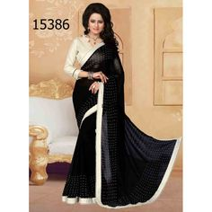 Designer Georgette Stones Pattern Party Wear Black Saree - 15386 ( ML - 896 )