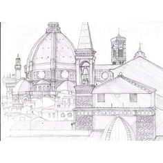 Pencil sketch of Florence,Italy by Robert Page at Coroflot ❤ liked on Polyvore