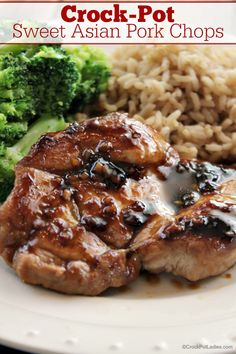 Crock-Pot Sweet Asian Pork Chops - This recipe is a fast and easy slow cooker recipe that makes delicious and juicy pork chops with a great sweet Asian flavor. This simple recipe can also be made into a slow cooker freezer meal to make life just a little easier on busy days. [Gluten Free, Low Calorie, Low Carb, Low Fat, Low Sodium, Low Sugar & just 9 Weight Watchers SmartPoints per serving!] #CrockPot #SlowCooker #PorkRecipes #PorkChops #WeightWatchers #HealthyRecipes ♥ CROCKPOTLADIES.COM