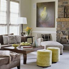 Large stone fireplace in the living room that is nice ...