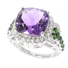 Sterling Silver Amethyst Chrome Diopside and Topaz Halo Ring